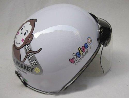 Bikman Women'S Motorcycle Motor Helmet Electric Cars Safety Bike Half-Cover Microshell Summer Helmet Monkey Printing (White)