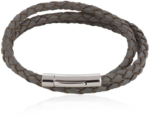 Alraune Trinity 103423 Unisex Bracelet Grey Leather 3 Strands Stainless Steel Clasp 63 cm