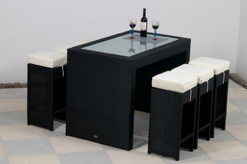 essella Polyrattan Bar-Set Barcelona in Schwarz mit extra starkem 1,4mm Geflecht