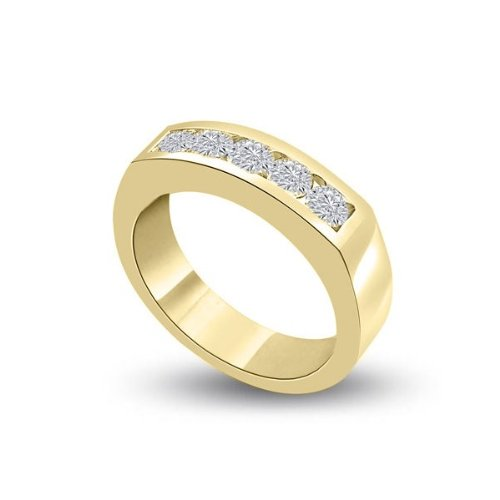 0.50ct G/SI1 Diamond Half Eternity Ring for Women with Round Brilliant cut diamonds in 18ct Yellow Gold