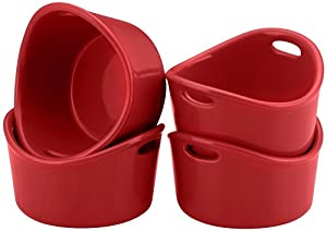 Rachael Ray Bubble and Brown Singles Stoneware Ramekins, 10-Ounce, Red, Set of 4 by Rachael Ray