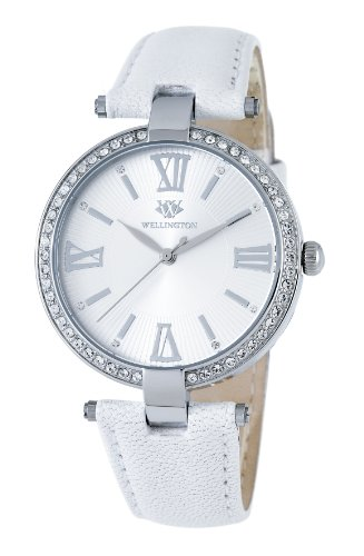 Wellington Ladies Quartz Watch with Silver Dial Analogue Display and White Leather Strap WN502-116