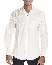 Venga Men's Button Front Shirt (RF005, Yellow, M)