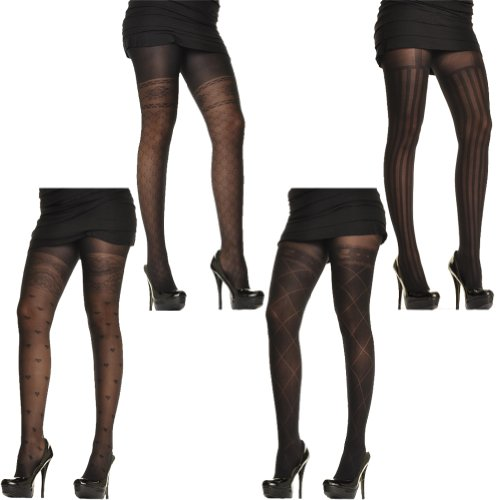 Angelina Faux Thigh High Patterned Pantyhose, 4 Pairs/Designs Per Pack
