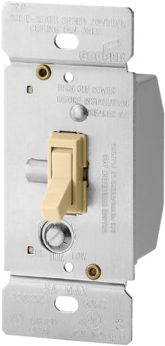 Cooper Wiring Devices Tfs5-V-K 5-Amp Single-Pole Fully Variable Fan Speed Control With Non-Preset, Ivory