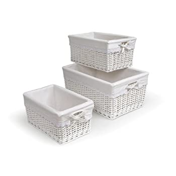 Badger Basket Three Basket Set, White