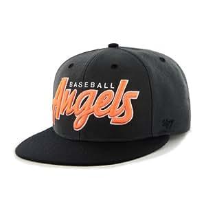 MLB Los Angeles Angels Men's Retroscript Wool Snapback Cap, One Size, Charcoal