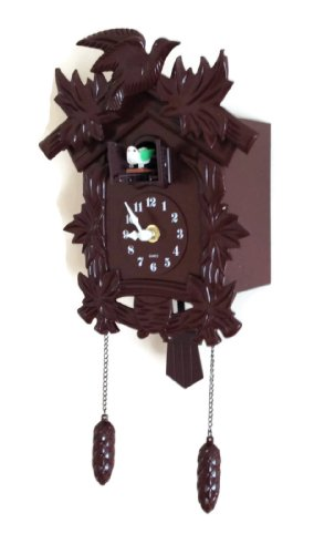 Cuckoo Clock Black Forest Birdhouse Style Design Coo Coo Clock Plastic Wood Color Antique Looking Black Forest Wall Clock with Modern Quartz Clock Movement and Cuckoo Bird Singing Cuckoo Sounds Hourly. Old World Design Hanging Coo Coo Bird Chime