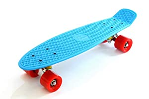 "BENTLEY 22"" KIDS RETRO CRUISER MINI PLASTIC SKATEBOARDS - BLUE WITH RED WHEELS (7 COLOURS AVAILABLE)"