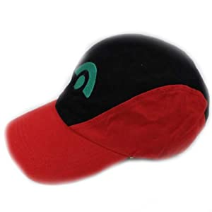Pokemon Ash Ketchum Black Red Hat Baseball Visor Cap Japan Anime Cartoon Cosplay