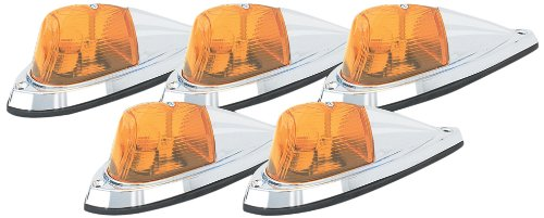 Pacer Performance 20-105 Hi-Five Amber Deluxe Chrome Teardrop Style Cab Roof Light Kit, (Pack of 5) (Teardrop Cab Lights compare prices)