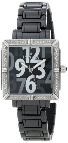 Invicta Women's 10271 Ceramics Chronograph Dark Silver Grey Dial Black Polyurethane Watch