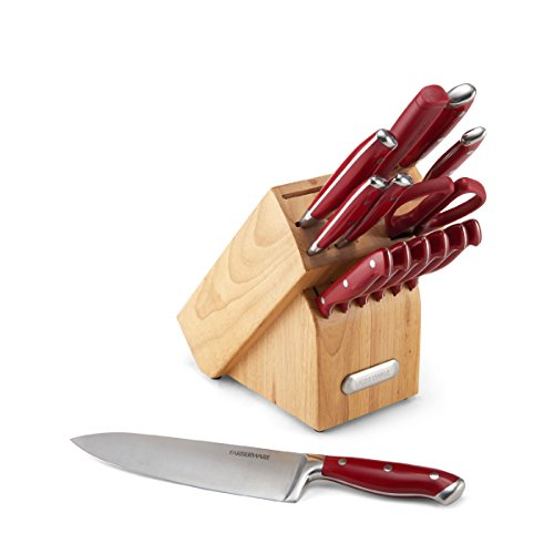 Farberware 15-Piece Forged Triple Riveted Knife Block Set, Red (Kitchen Knife Set Farberware compare prices)