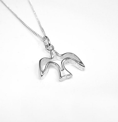 Lj Designs 081. Sterling Silver Open Dove Pendant And Chain - Christian Gifts - Confirmation Gifts - Christening Present