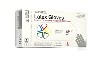 Daxwell Natural Rubber Latex General Purpose Glove, Powdered, Ivory