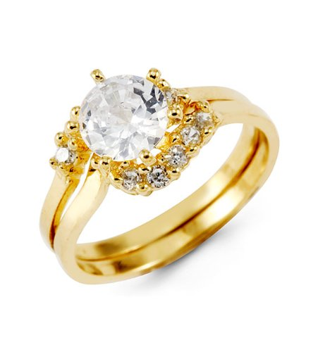 14k Yellow Gold Round CZ Crown Bridal Wedding Ring Set