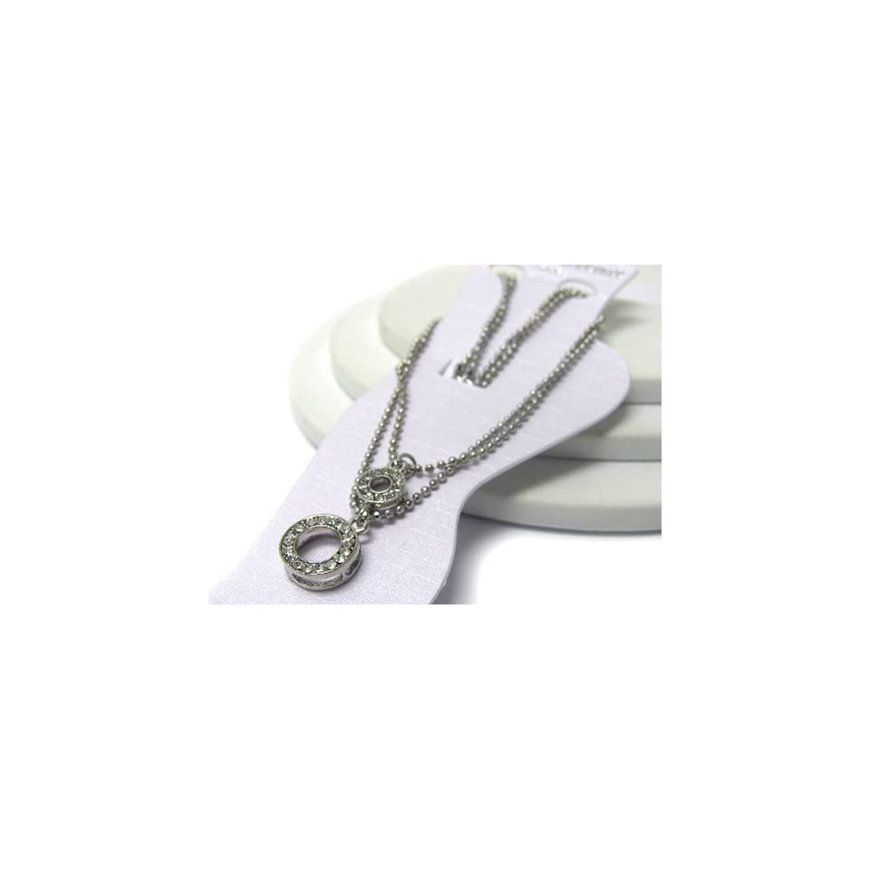 White Gold Plated Anklet ~ Clear Crystal Studded Circles
