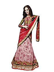 Vibes Women's Georgette Unstitched Saree (L2-5005_Pink)