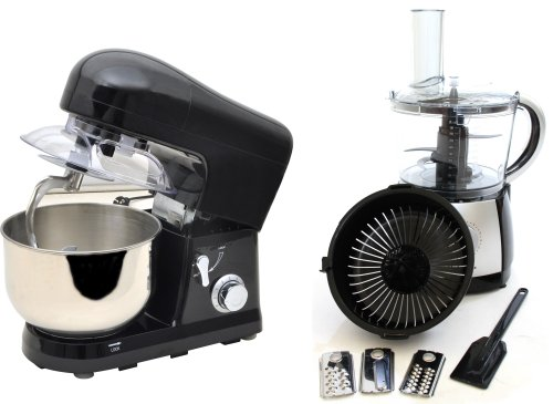 PACKAGE DEAL Kitchen Powerful FOOD MIXER 5L in Black, Most POWERFUL 1200W + 2.5 Litre Powerful Food Processor with 10 Speeds plus Pulse in BLACK from Charles Jacobs by Charles Jacobs