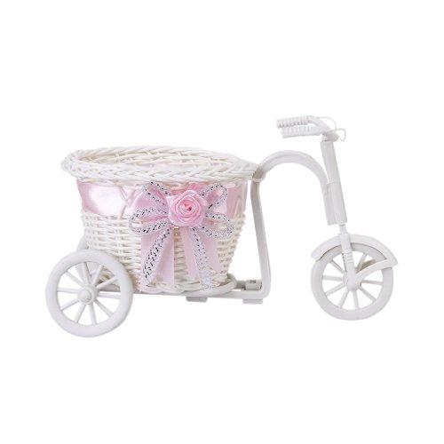 Generic handgefertigte Rattan Blumen Dreirad Fahrrad Korb für Blumen Vase und Lagerung Dekoration Geschenk Weiß Rosa