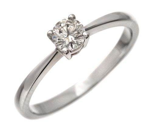 Engagement Ring, 18ct White Gold Ij/I Round Brilliant Certified Diamond Ring, 0.33ct Diamond Weight