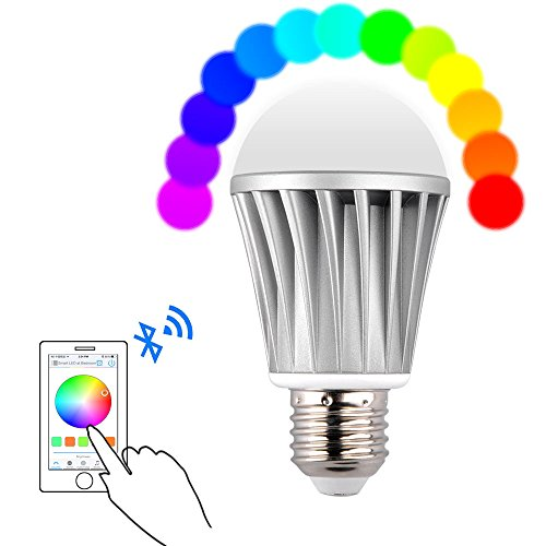Roybens Smart Bluetooth LED Light Bulb, E27 7w 20 Built-in Models RGB Smartphone Remote Control Dimmable Multicolored Customized Color Changing Lightbulb - Work with iPhone, iPad, Android Phone Tablet (Bluetooth Lightbulbs compare prices)