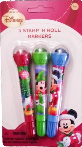 Licensed X'mas Disney 3 Stamps 'N Roll Markers -Mickey Mouse