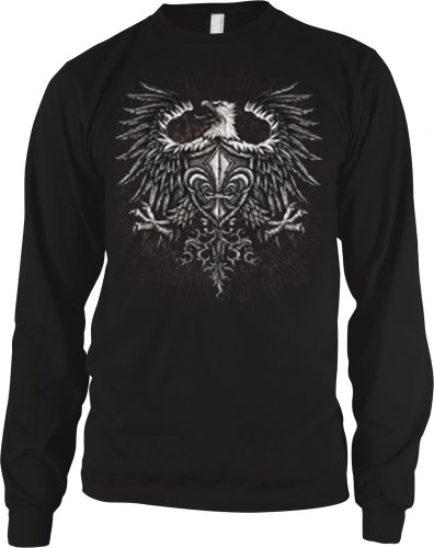 Eagle With Fleur De Lis Shield Mens Tattoo Thermal Shirt, Old School Eagle Coat Of Arms Tattoo Long Sleeve Thermal, X-Large, Black