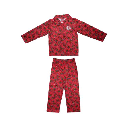 2 PCS SET: NFL Kansas City Chiefs Boys Or Girls Fleece Sleepwear Pajama Top & Pants Set