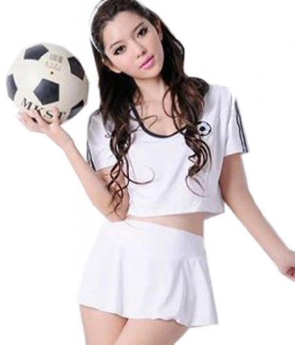 Superbaby Women Junior Football Cheerleaders Bar Costumes Stage Dance Skirt Tee