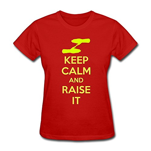 100% Cotton Awesome Keep Calm Raise It T-Shirt For Women - Round Neck front-634094