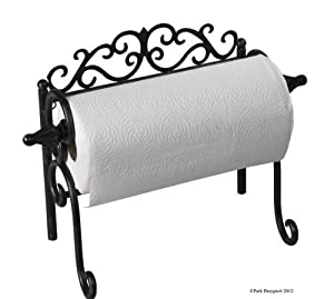 New Park Designs Sussex Black Cast Iron Counter Paper Towel Holder