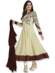 Orange Fab Women's Cream Anarkali Suit Dress Material