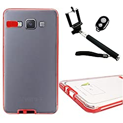 DMG LED Flashing Call Notification TPU Back Cover Case for Samsung Galaxy A7 (Red) + Handheld Selfie Monopod with Bluetooth Clicker