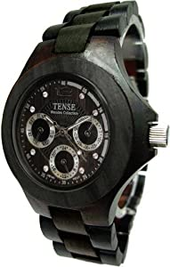 Tense Wood Mens Watch Dark Sandalwood Tri-Dial Hour Day Time G4300D from Tense Wood Watches