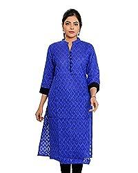 JPF Kurtis Women's Cotton Straight Kurtas(D-01212_40_Blue, Blue, 40)