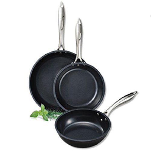 "Kyocera Gen-2 Healthy 8"", 10"" & 12"" ceramic Coated Nonstick 3Piece Fry Pan Set: Black"