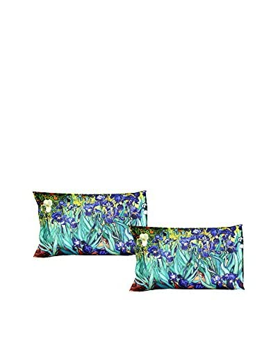 Tele d'autore by MANIFATTURE COTONIERE Kopfkissenbezug 2er Set Van Gogh - Iris lila/türkisgrün