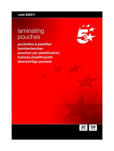 5-star-laminating-pouches-150-micron-for-a5-glossy-ref-5025-pack-of-100