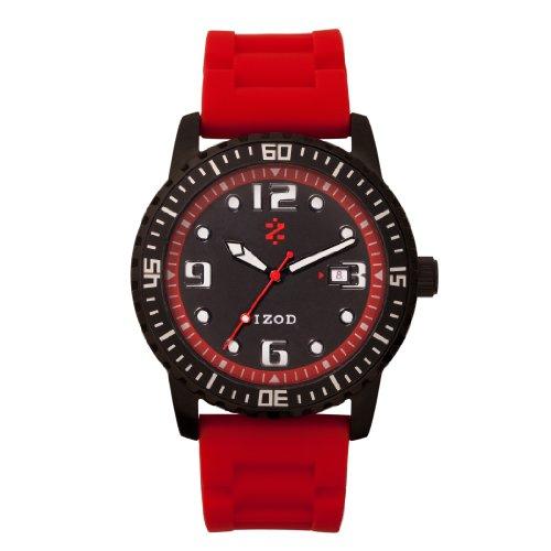 IZOD Men's IZS3/3R BLACK RED Sport Quartz 3 Hand Watch