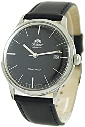 Orient Men's 'Bambino Version 3' Japanese Automatic Stainless Steel and Leather Dress Watch, Color:Black (Model: FER2400LB0)