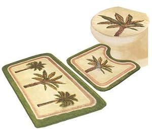 3 pc sets palm tree bathroom rugs bathroom accessory sets. Black Bedroom Furniture Sets. Home Design Ideas