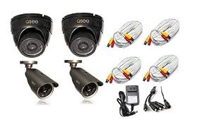 Q-See QM6007D(2pcs)-QM6006B(2PCS) Weatherproof Dome/Bullet Set Camera (4PK)