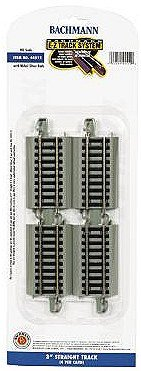 """Bachmann Trains Snap-Fit E-Z Track 3"""" Straight Track (4/Card)"""