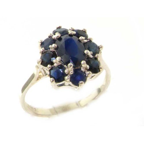 Luxury Ladies Solid White Gold Genuine Natural Sapphire Cluster Ring - Size 8.75 - Finger Sizes 5 to 12 Available