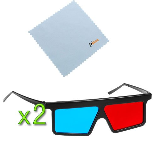 GTMax 2pcs 3D Red/Cyan (Flat Square) Glasses