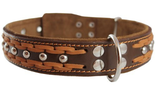 High Quality Genuine Leather Braided Studded Dog Collar, Brown 1.6 Wide. Fits 19-24 Neck, Large. by Dogs My Love