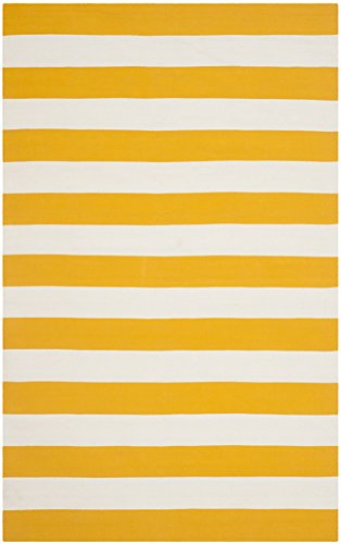 Safavieh Montauk Collection MTK712A Hand Woven Yellow and Ivory Cotton Area Rug, 5 feet by 8 feet (5' x 8')