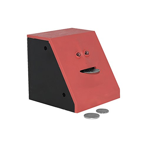 Face Bank Coin Eating Savings Bank - Red (Blue Available) - Kids Savings Bank or Novelty Gift Piggy Bank
