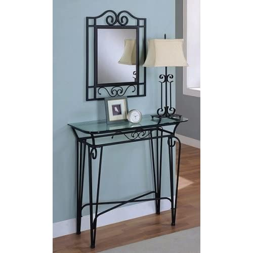 Black metal finish entry way console table for Foyer console table and mirror set
